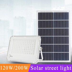 120 Вт светодиодные уличные фонари на солнечной энергии, водонепроницаемые IP67 уличные фонари для улицы, дороги, сада, светодиодное белое осве...