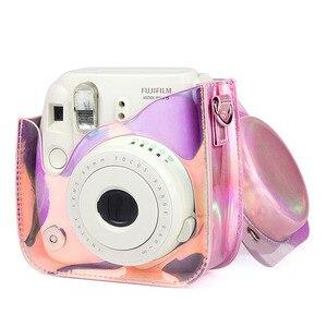 Image 5 - Fujifilm Instax Mini 9 8 futerał na aparat torba przezroczysta laser holograficzny aparat natychmiastowy na ramię torba na pasek obudowa ochronna etui