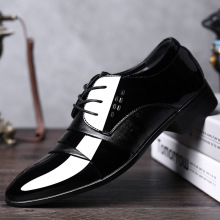 Men Dress PU Leather Shoes Slip On Fashion Male Formal Oxford Lace Up Shoes Flat Pointed Toe Casual Business Shoes недорого