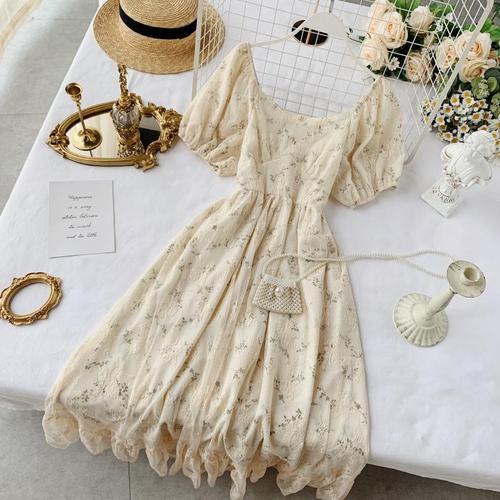 Новые модные женские платья французская элегантность винтажное кружевное платье с высокой талией для похудения Цветочное платье - Цвет: Apricot