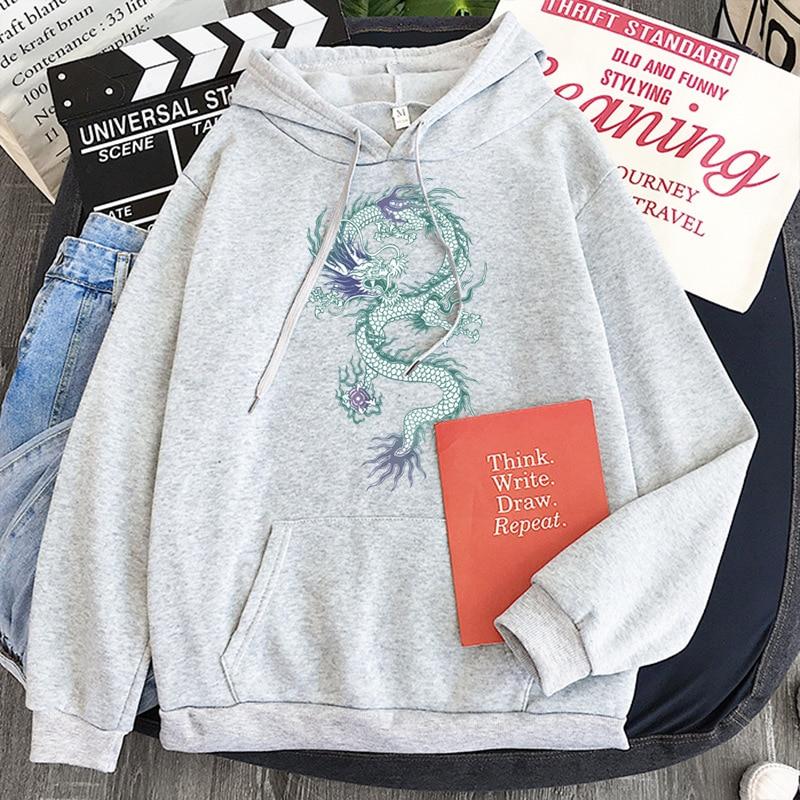 Cool Dragon Plus Size Print Sweatshirts Women Oversized Tops Hoodies Female Pullovers Casual Hoody Harajuku Korean Style Clothes 16