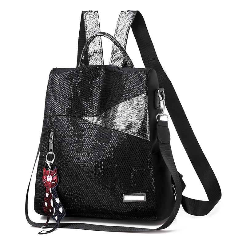 Hf684af83faeb48e49b194b30caecc33aI Simple style ladies backpack anti-theft Oxford cloth tarpaulin stitching sequins juvenile college bag purse Bagpack Mochila