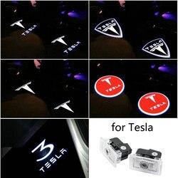 2X dla Tesla Model 3 Led samochodów drzwiowe światło wejściowe projektor z logo cień duch laserowe oświetlenie drzwi samochodu Tesla Model 3 S X Y akcesoria