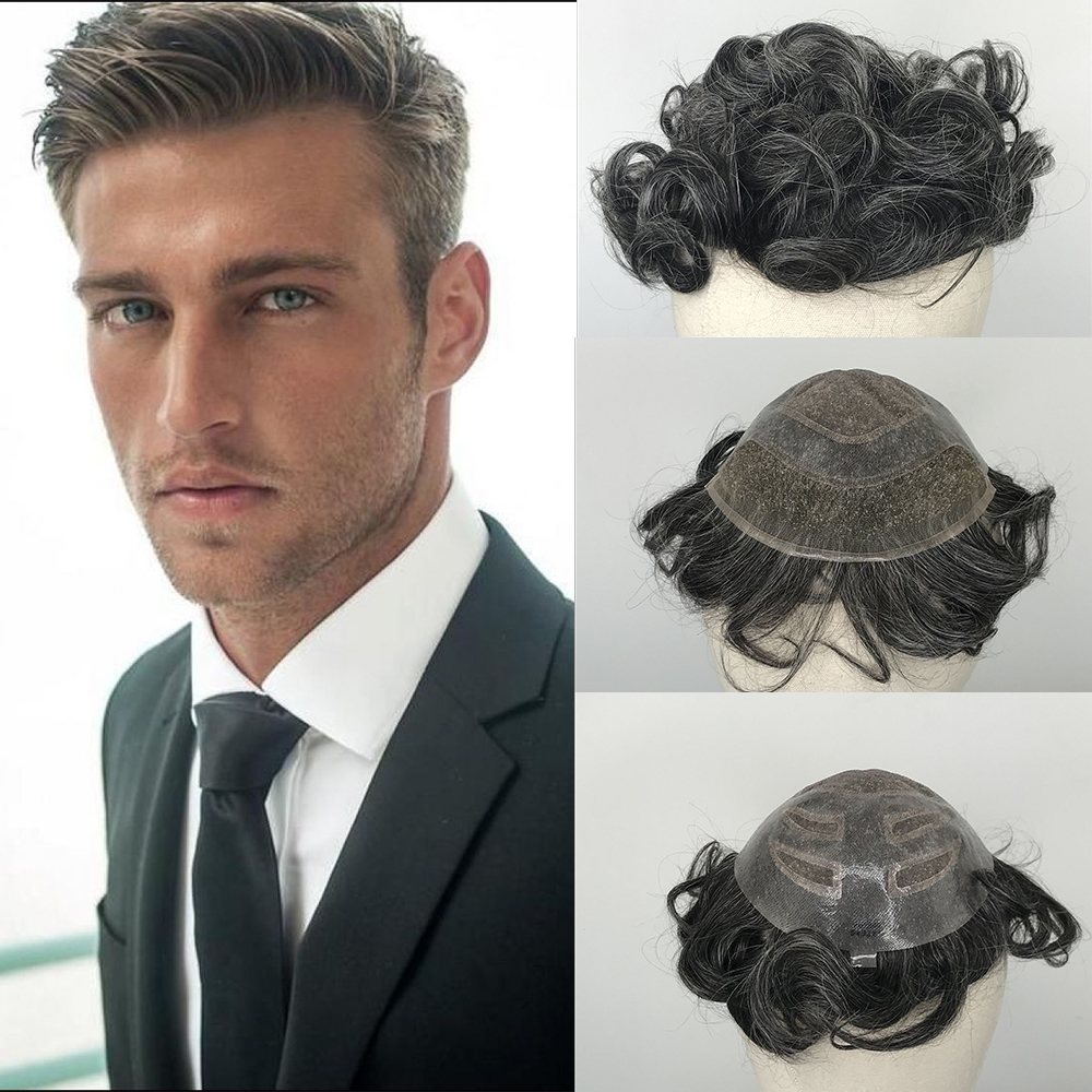 YY Wigs 1B Mixed 40% Grey Chinese Hair Wigs For Men Half Lace & Half PU Human Remy Hair Toupee For Men Hair Replacement System