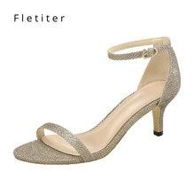 Scarpe estive sandali da donna cinturino alla caviglia 5cm sandali con tacco medio donna tacchi sottili abito da festa grosso sandali neri 2019 Fletiter