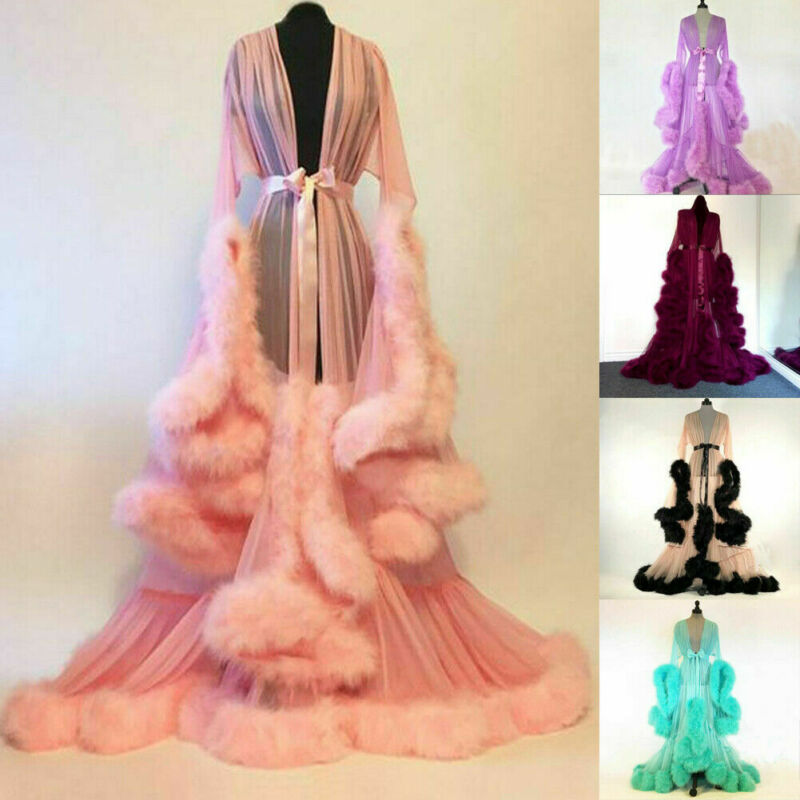 Hot Sale Fashion Gown Mesh Fur Babydolls Sleep Wear Sexy Women Lingerie Sleepwear Lace Robe Nightwear Lady Nightgrown Long Robes