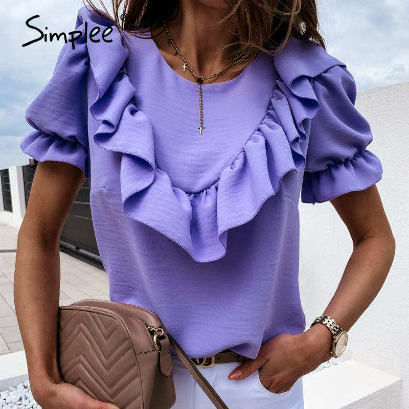 Simplee Casual Crew Neck Ruffle Women Blouse Shirt Bubble Sleeves Short Female Tops Blouse High Street Style Ladies Blouse