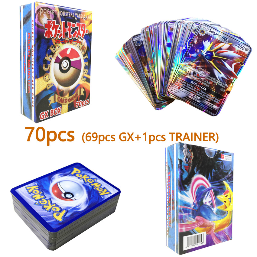 60/70pcs New Pokemon Cards Tag Team GX EX MEGA Cards Pokemones English Pikachu Cards Toys For Kids Gift High Quality No Repeat