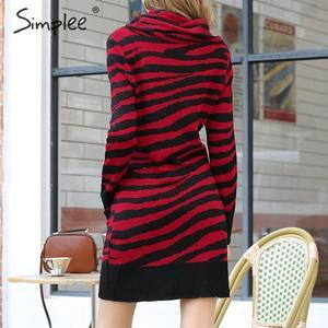 Image 5 - Платье Свитер Simplee с животным принтом; уличная одежда с высоким воротником и карманами; трикотажное платье; повседневное женское прямое мини платье; сезон осень зима