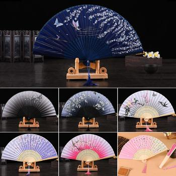 Chinese Style Hand Held Folding Dance Fan Wedding Party Lace Silk Folding Hand Held Flower Fan Summer Wedding Fan Party handmade cotton lace parasol umbrella and hand fan party wedding decor
