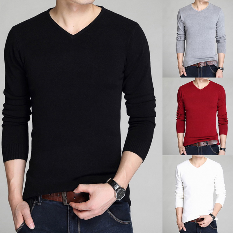 Autumn Winter Mens Sweaters V-neck Slim Fit Solid Long Sleeve Sweater Pullover Male Knitwear Homme Shirts Hombre 2019 Outwear