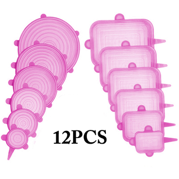 12pcs Reusable Silicone Food Cover Elastic Stretch Adjustable Bowl Lids Universal Kitchen Wrap Seal Fresh Keeping Silicone Caps - PINK 12PCS