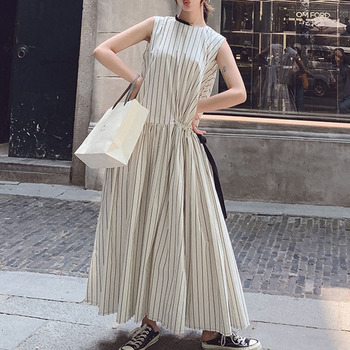 цена на Sleeveless Women Long Dress Summer 2020 Korean Janpanese Striped A Line Casual Dresses  Loose Vintage Pleated Female Maxi Dress