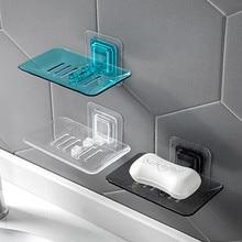 цена на Soap Dishes Drain Sponge Holder Bathroom Organizer Wall Mounted Storage Rack Soap Box Kitchen Hanging Shelf
