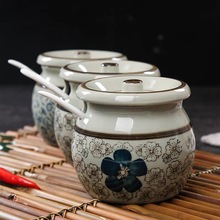 Household kitchen supplies salt shaker ceramic seasoning jar Spice Pots Bowls sugar bowl kitchen seasoning tools