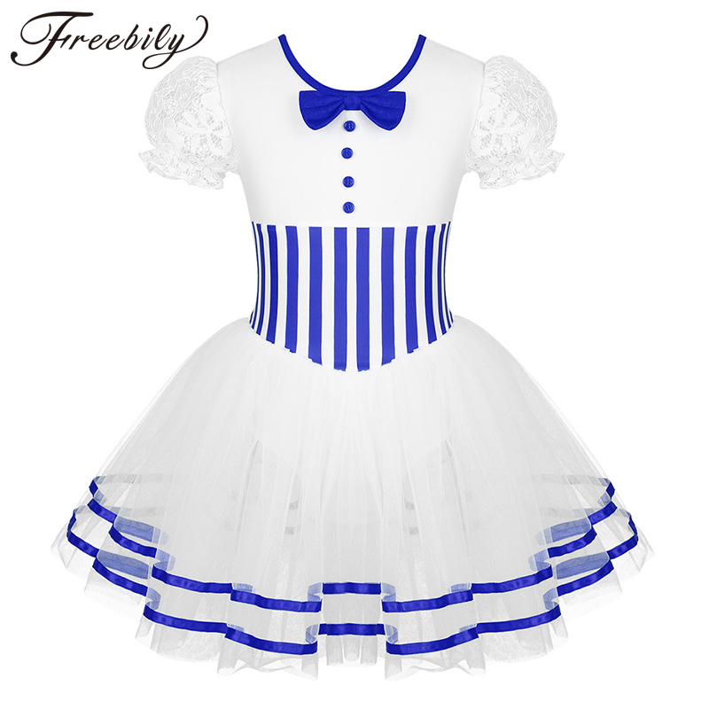 Christmas Kids Girls Short Lace Puff Sleeves Ballet Figure Skating Baton Twirling Mesh Leotard Dress Competition Dance Costume