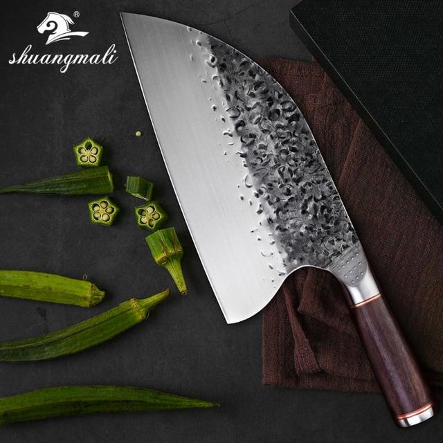 Нож мясника из нержавеющей стали 5CR15MOV, китайский кухонный нож, поварские инструменты с деревянной ручкой