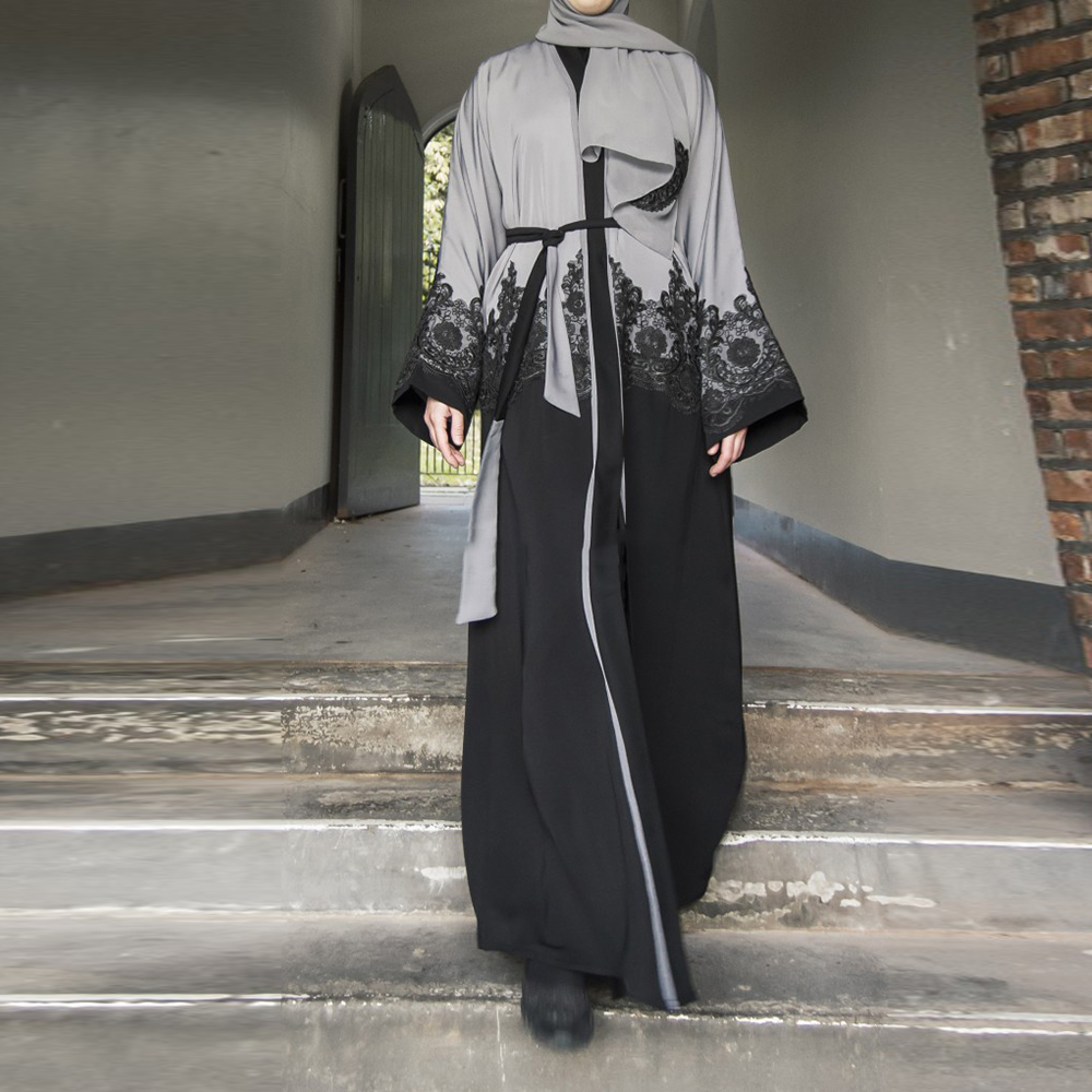 Gray Open Dubai Abaya Turkish Kimono Hijab Muslim Dress Women Robe Ramadan Qatar Pakistan Caftan Marocain Kaftan Islam Clothing