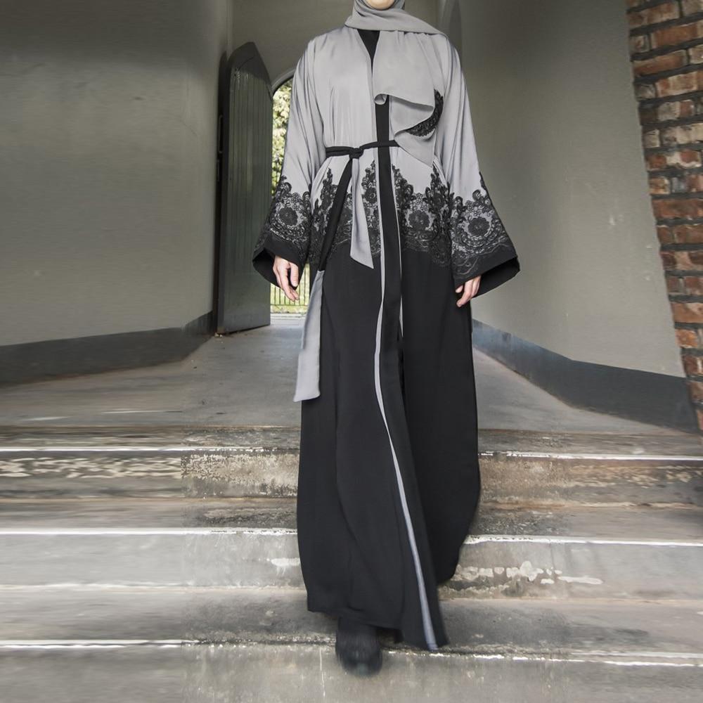 Gray Open Dubai Abaya Turkish Kimono Hijab Muslim Dress Women Robe Ramadan Qatar Pakistan Caftan Marocain Kaftan Islam Clothing