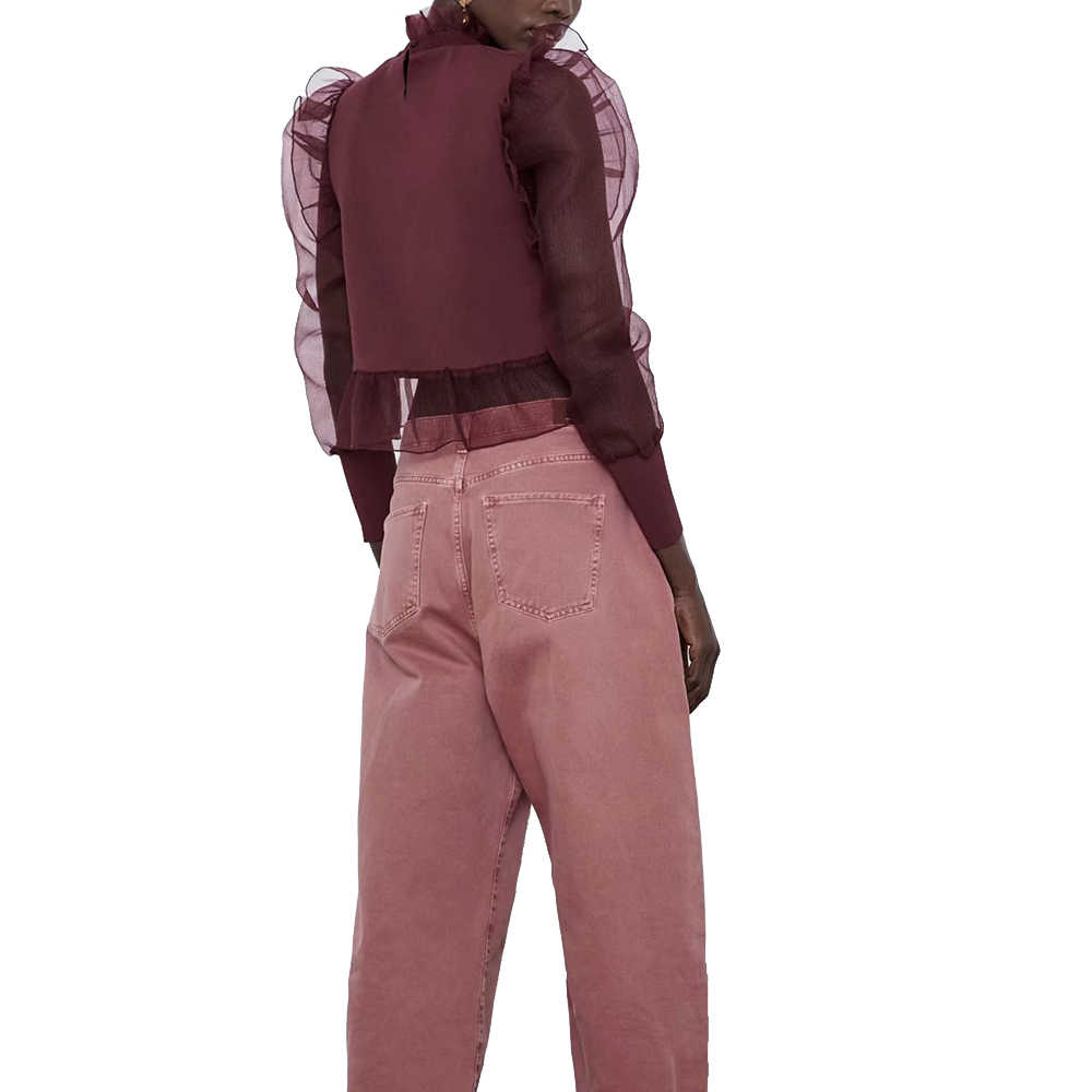 ZA חדש אביב נשים של אדום טלאים לראות דרך שרוול פנס שיפון o-צוואר מזדמן חולצה אופנה סקסי נשי אישה בגדים