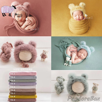 Newborn Baby Cartoon Hat+Stretch Wrap Set Photography Props Baby Boy Girl Photo Shoot Posing Wrap Cap fotografia Accessories yundfly knit baby hat newborn photography props candy color flower beanie cap baby fotografia hair accessories
