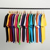 Camiseta de algodón de manga corta para hombre, ropa de manga corta de Color puro, 2021