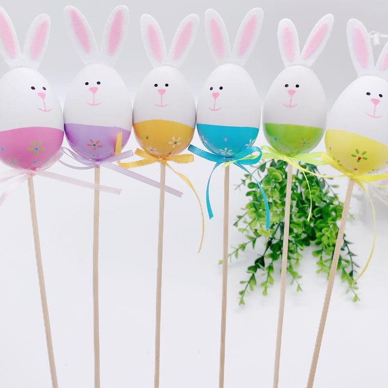 6pcs Easter Egg DIY Cute Bunny Home Decoration Kindergarten Handcraft Educational Kids Toys Christmas Birthday Gift