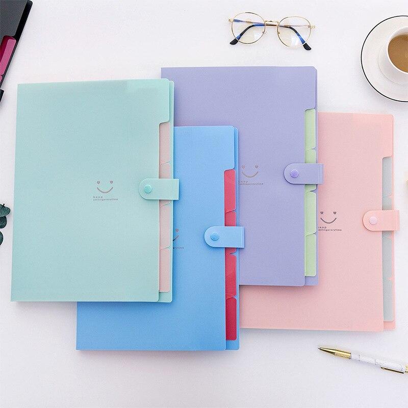 Student Multi-layer Folder Korean Smiley Face A4 Organ Package File Bag Inset Paper Folder 5 Boxes