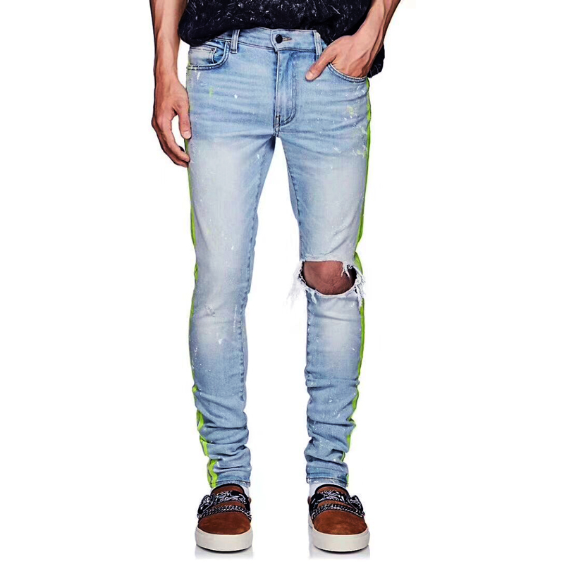 Fashion Streetwear Men Jeans Blue Destroyed Ripped Jeans Men Punk Pants Elastic Stripe Printed Designer Slim Fit Hip Hop Jeans