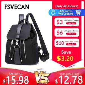 Image 1 - New 2019 Nylon Women Backpack Female Fashion Travel Waterproof Patchwork Leather Bag Black School Backpacks Teenager For Girls