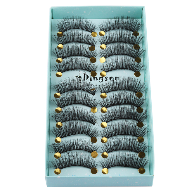 10 Pairs 3D Soft Faux Mink Hair False Eyelashes Natural Messy Eyelash Crisscross Wispy Fluffy Lashes Extension Eye Makeup Tools 4