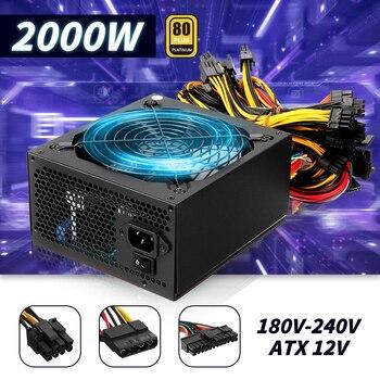 2000W PC Computer Miner Power Supply ATX ETH BTC Bitcoin Mining Machine 180~240V 80 Plus Platinum Certified High Efficiency 1