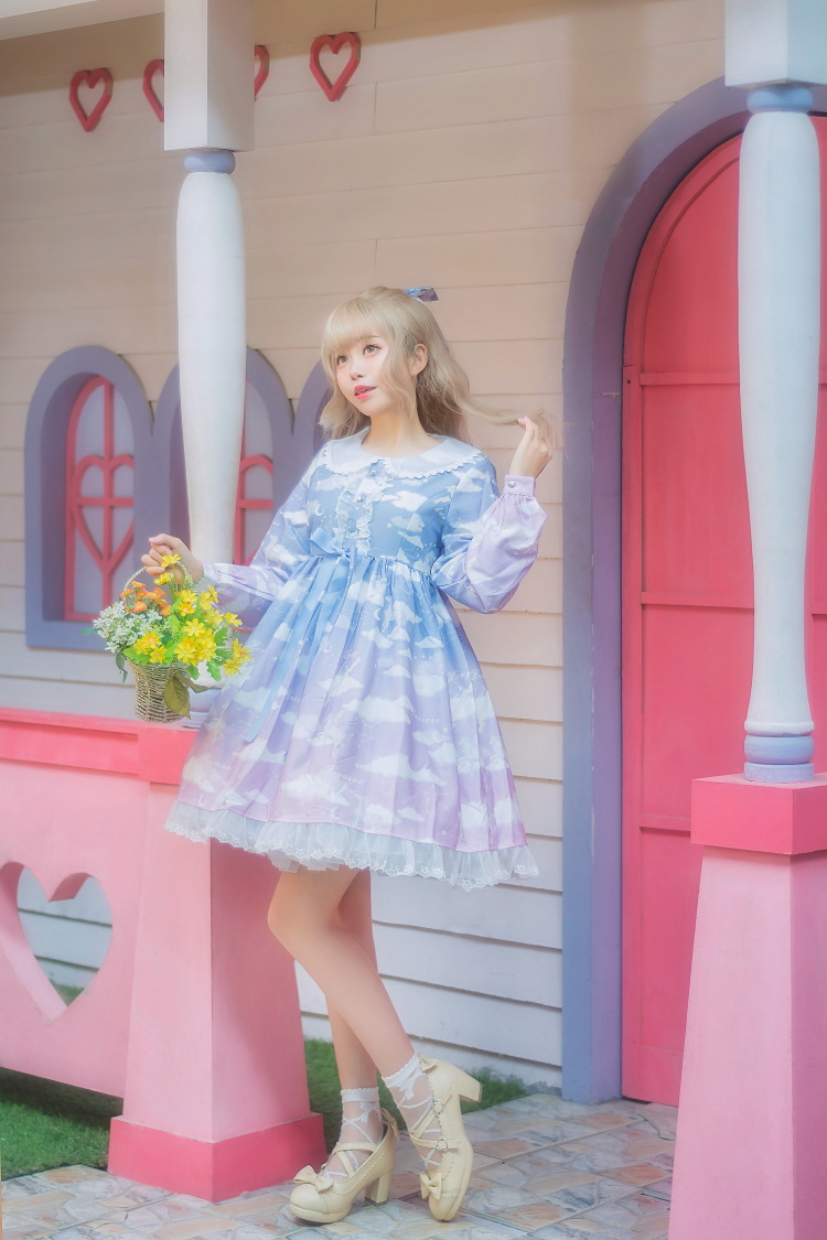 Princesse douce lolita robe à l'origine nuage mer robe princesse petit nuage blanc Lolita licorne robe de mode femmes HWK057