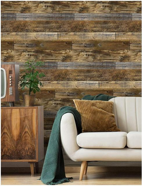 Peel and Stick Wood Plank Wallpaper Shiplap Brown Vinyl Self Adhesive Contact Paper Decorative Wall Covering Stickers 2