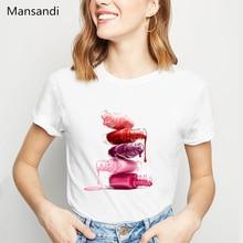 watercolor red Nail Polish tshirt women clothes 2019 summer tops tee shirt femme vogue funny t shirts camiseta mujer streetwear