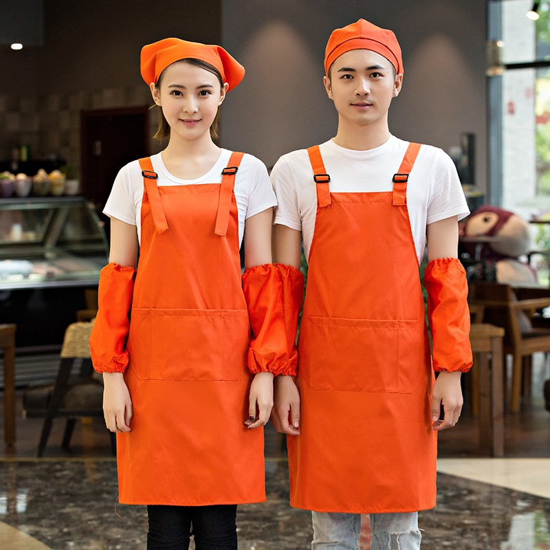 Apron Coffee Shop Logo Printed Words Korean style Style Milk Tea Hot Pot Catering Supermarket Work Clothes|Oversleeves| |  - title=