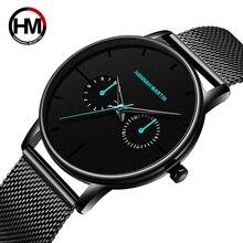 Relógios masculinos topo da marca de luxo multifunções pequeno dial malha aço inoxidável ins estilo à prova dwaterproof água relógios pulso relogio masculino