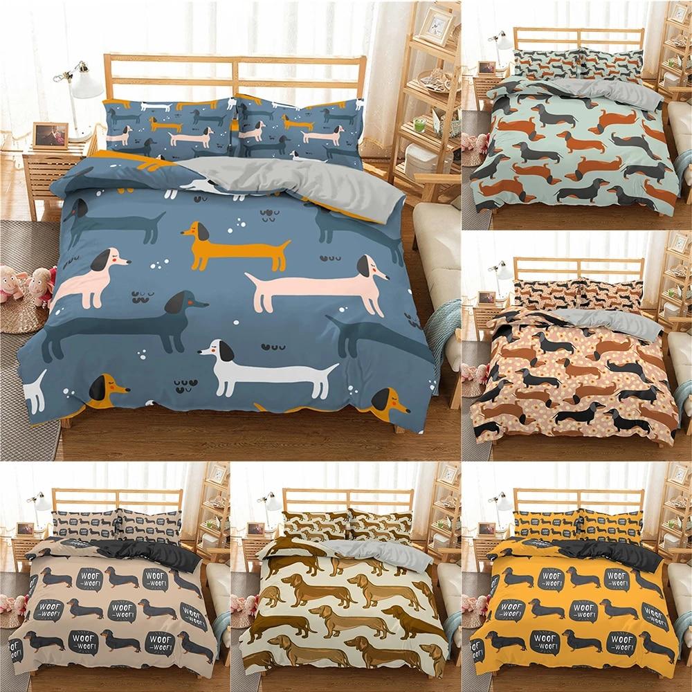 Homesky Cartoon Dachshund Bedding Set Cute Sausage Dog Duvet Cover Set Pet Printed Comforter Sets Bed Cover Bedclothes Bedding Sets Aliexpress