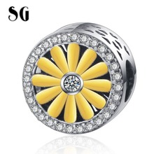 SG New 925 sterling silver Cute Small daisy Round beads Gold &White CZ Flower Charms Fit pandora Bracelet for Women DIY Jewelry