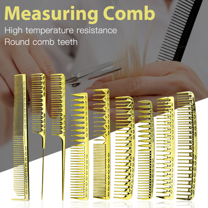 Hair Salon Hairdresser Professional Electroplating Gold Hair Men's Oil Head Comb Haircut Hollow Comb Women Trimming Tail Comb