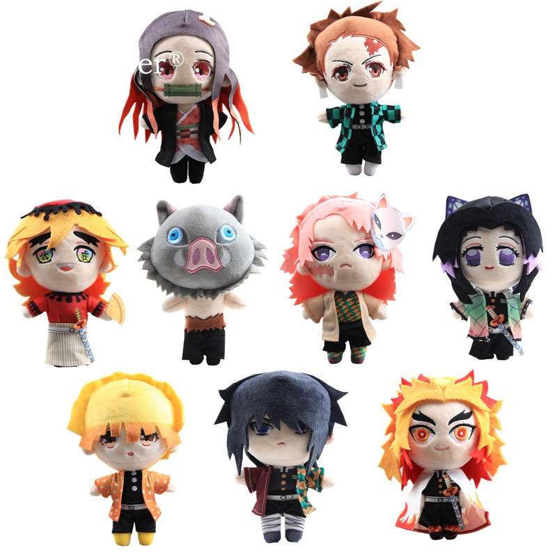 9 Styles Toy Dolls Douma Figure Demon Slayer: Kimetsu No Yaiba Rengoku Kyoujurou Tomioka Giyu Plush Toy 20-22 Cm