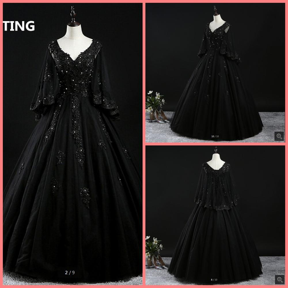 2020 Real Picture Vintage Black Tulle Ball Gown Lace Appliques Prom Dress V Neckline Beaded Puffy Sleeve Prom Gowns Party Dress Prom Dresses Aliexpress