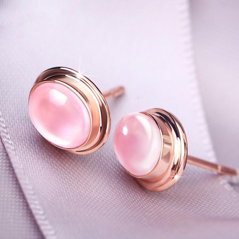 925 Vintage Moonstone Stud Earrings Fashion Women Jewelry Rose Gold Round Powder Crystal Earrings