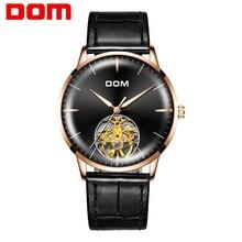 DOM hombres relojes marca superior reloj de lujo esqueleto hombres deporte cuero Tourbillon automático mecánico reloj de pulsera moda M 1268GL 1M