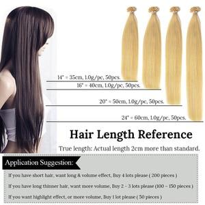 Image 4 - מכירת חיסול 14 אינץ U/נייל עצה שיער הרחבות ישר היתוך קרטין שיער הארכת 100% שיער טבעי Nonremy טהור צבע 50pc