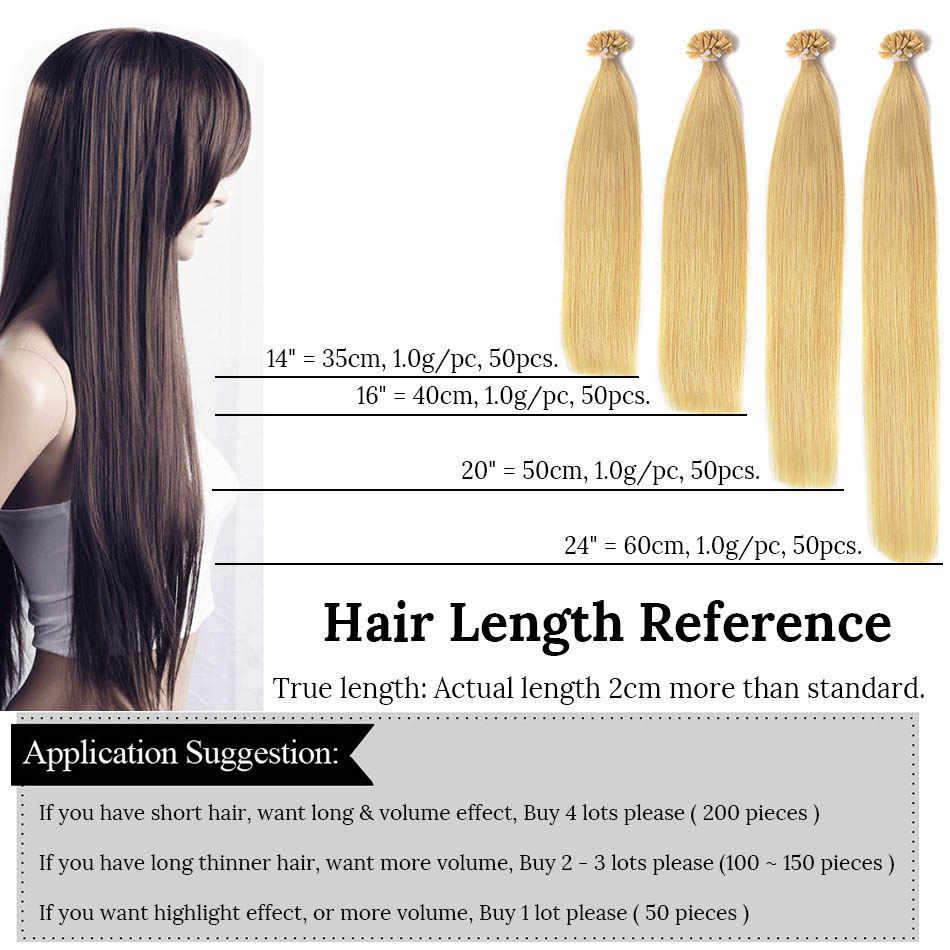 """Luz przedmioty 14 """"Fusion przedłużanie włosów proste włosy Remy keratyny włosów ludzkich Pre Bonded 50 sztuk promocja"""