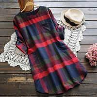 Mulheres blusa longa xadrez solta camisa casual vintage manga comprida topos elegante outono pullovers streetwear senhoras roupas