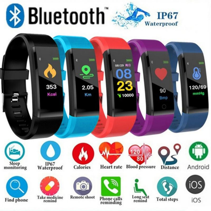 Ochine Waterproof Smart Monitoring Smart Wristband Fitness Band Bracelet Watch 115 Plus Blood Pressure Monitoring Heart Rate