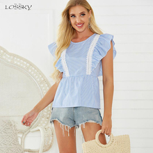 Blouses Women Striped Summer Ruffle Patchwork Sleeveless Tan