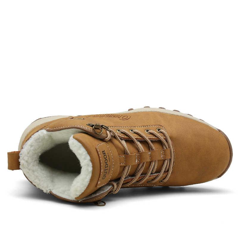VESONAL Merk Kwaliteit PU Lederen Mannen Laarzen Voor Mannelijke Volwassen Winter Warme Korte Pluche Sneakers Mannen Mode Schoenen Wandelschoenen